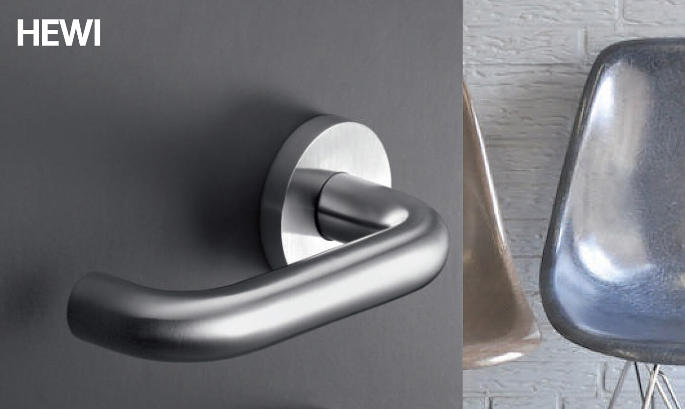 High-gloss surfaces made from coloured polyimide have made the Hewi System a design icon. However, this developed gradually into a full system with wardrobes, handrails and sanitary products.