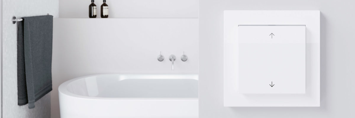 The Gira E3 is implemented in a elegant bathroom