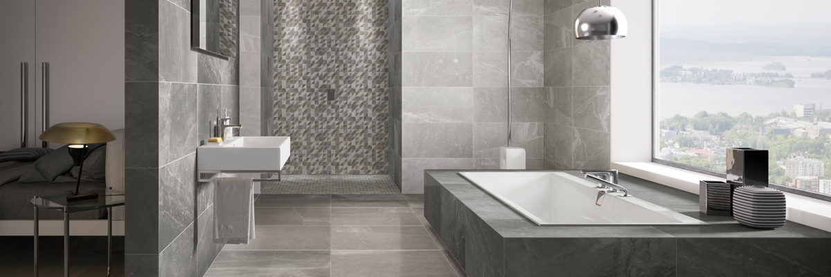 Beautiful grey Bathroom designed with natural stones
