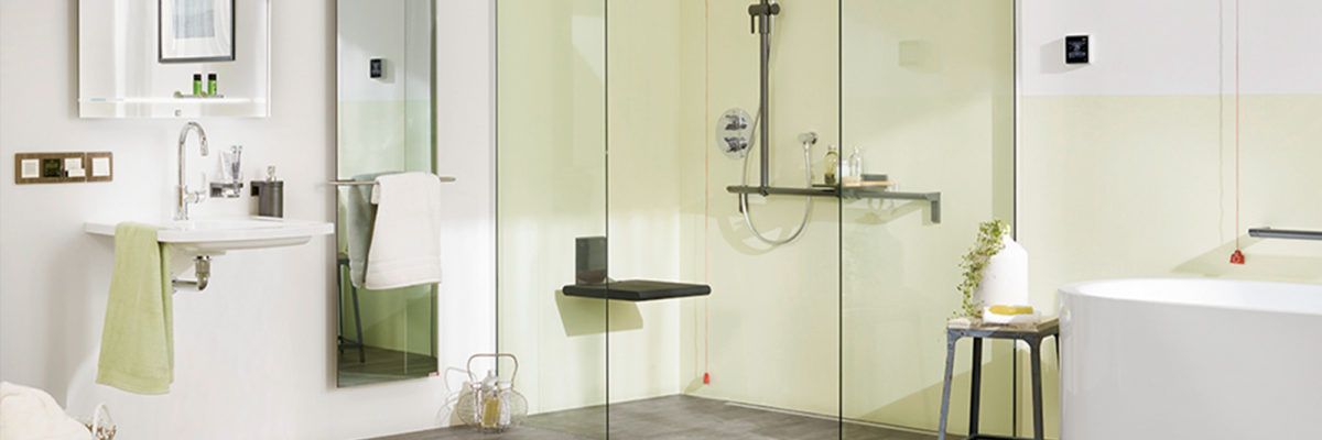 Modern bathroom with barrier-free shower.