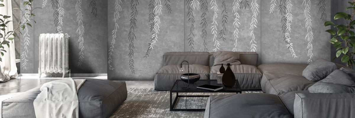 Flowers and natural style in the livingroom, thats a wallpaper trend.
