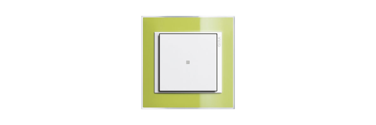 Gira Event glas in green can use for a colourbloking kitchen.