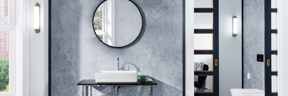 Grey is the new white for bathroom colours.