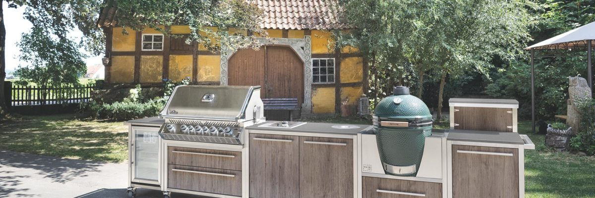 Outdoor kitchen with wooden veneer.