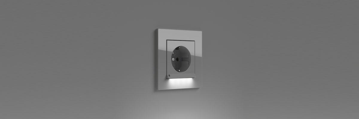 A stainless steel light switch with integrated LED is a smart living product.