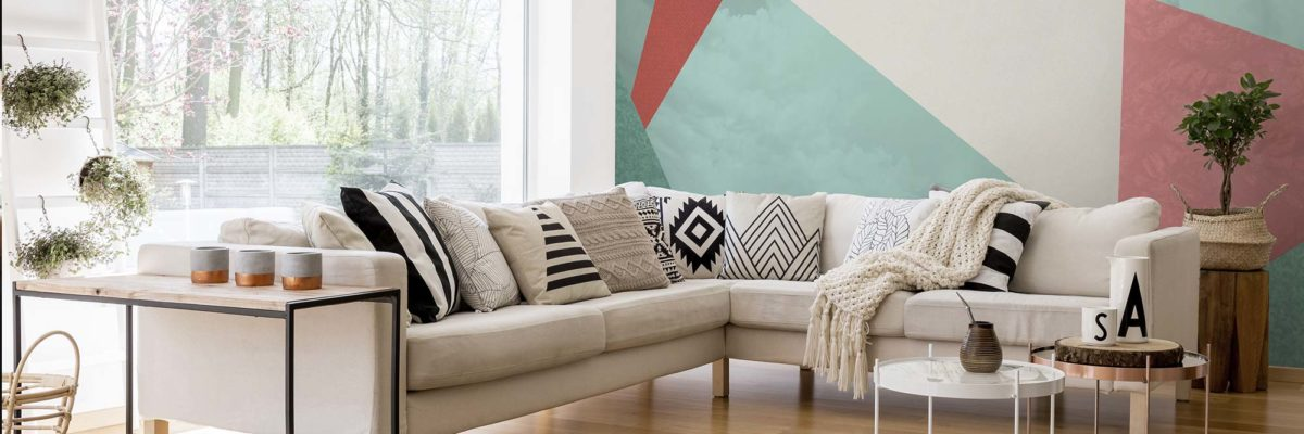 Geometric wall design: view in the livingroom