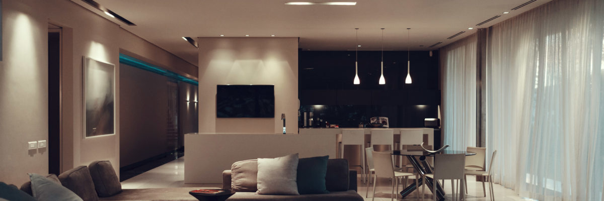Living room with dimmed lighting