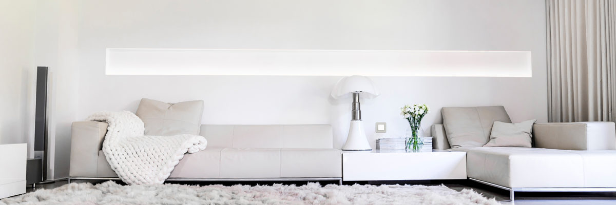 White interior and tonal couches