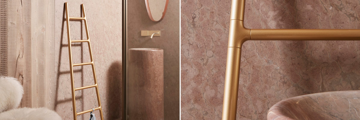 Gold electric heater Scarletta in bathroom
