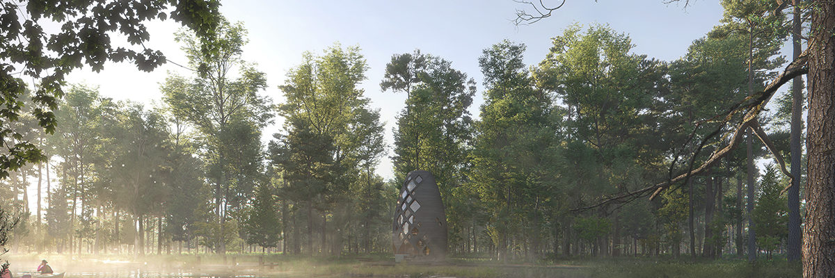 3d printed house in misty forest