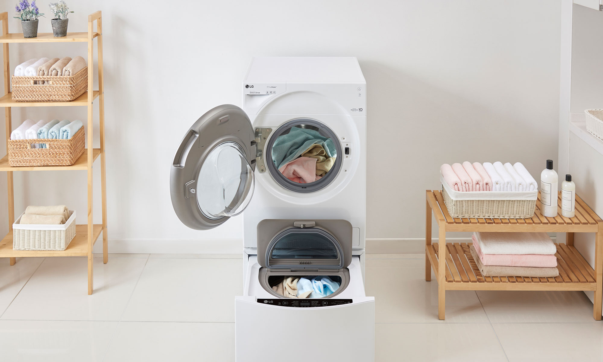 smart home devices washing machine in utility room