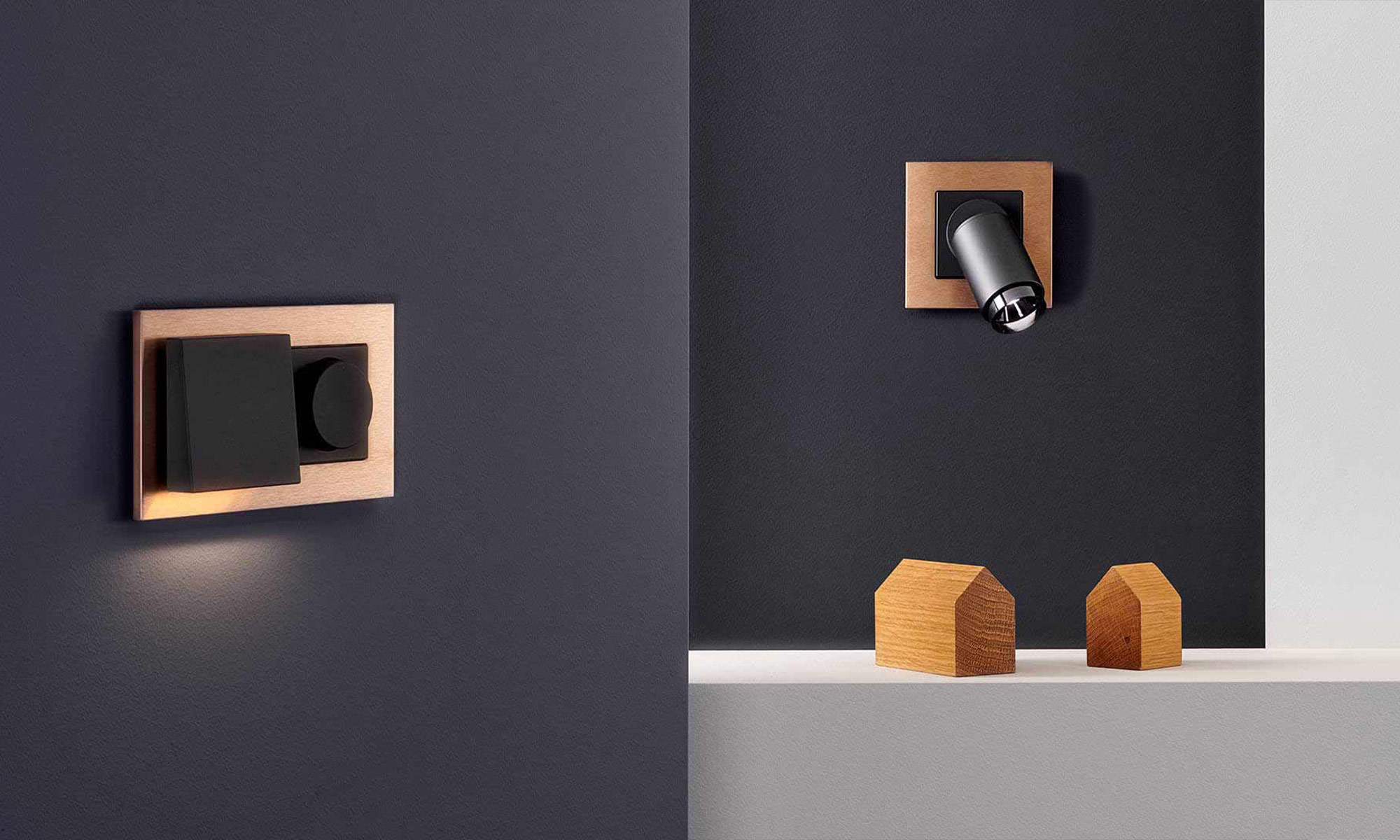 Plug and light by Gira for modern kitchen lighting.