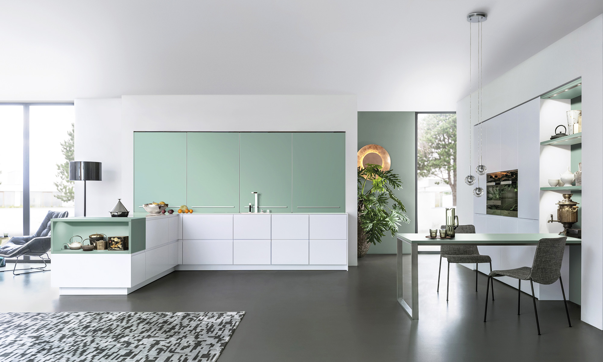 Modern kitchen lighting ideas in subtle colours.