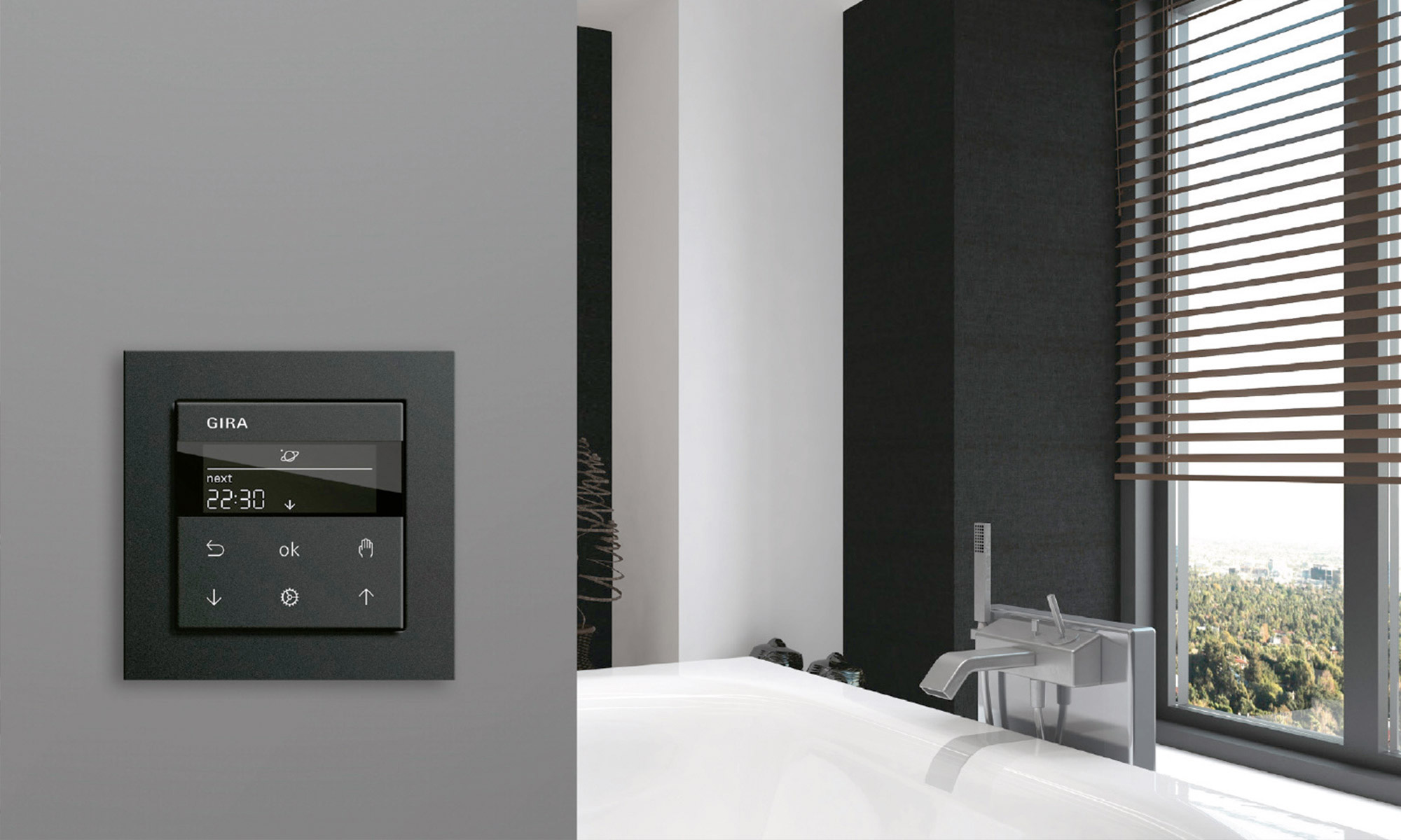 Gira 3000 heating control thermostat is functional as well as stylish.