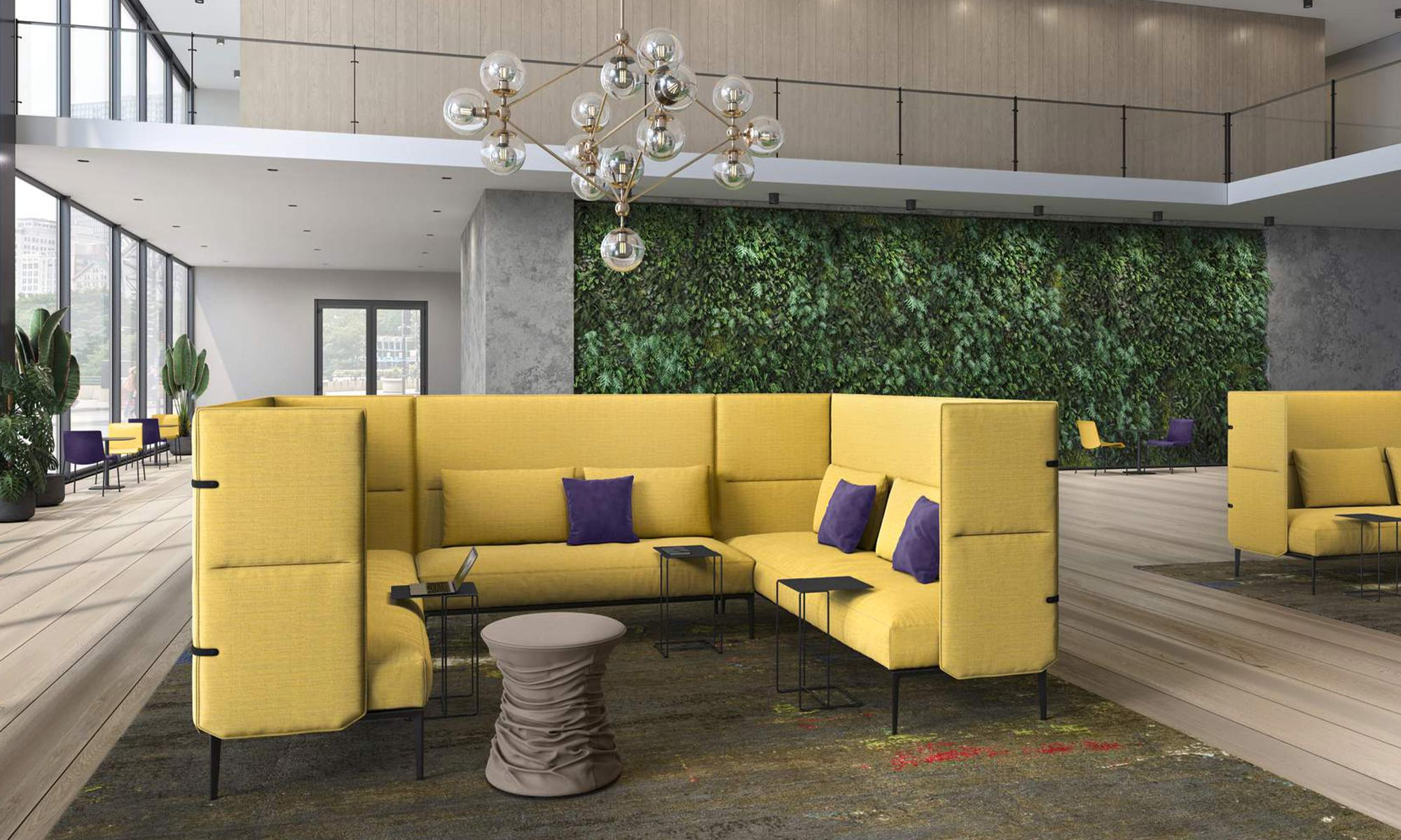 A yellow sofa in a living room