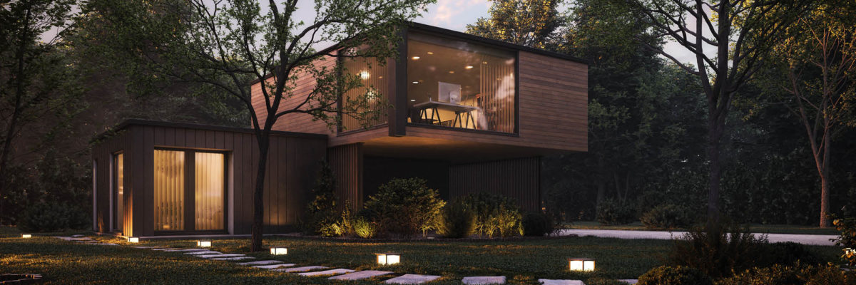 Modern home with indoor and outdoor lighting
