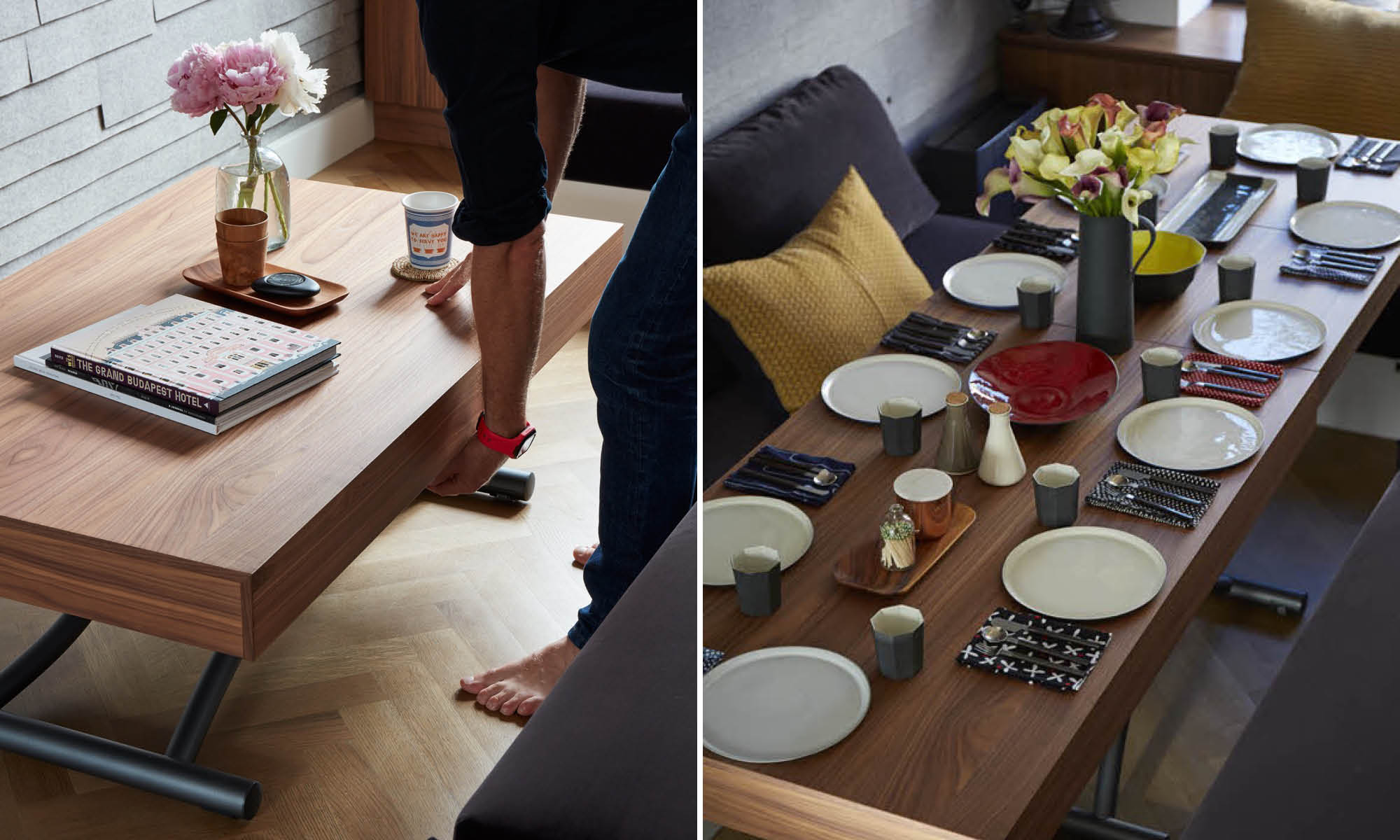 Coffee table folds down into a dining table