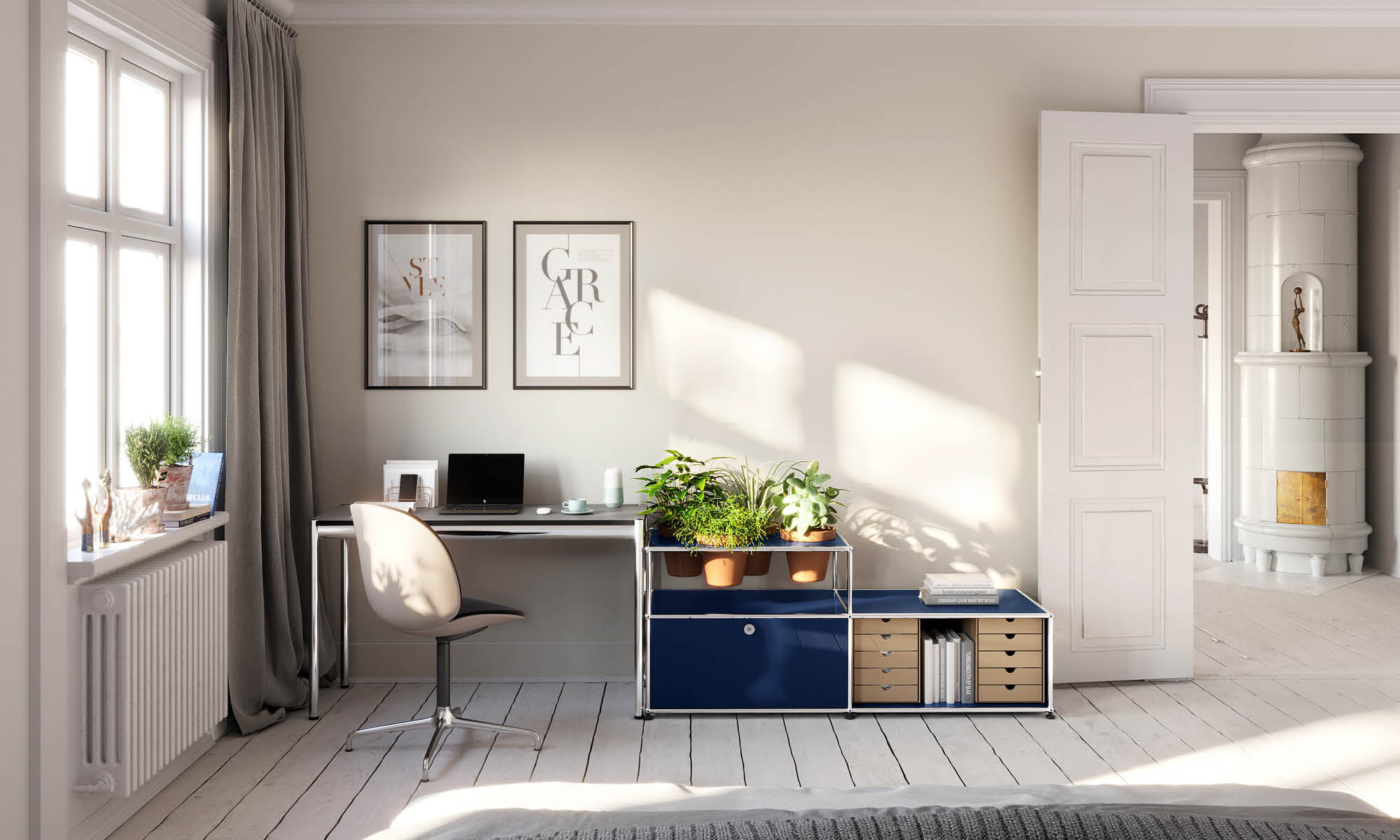 Home office desk with plants