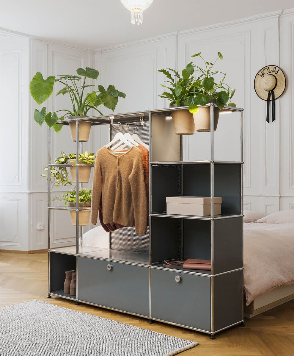 Room divider with plant shelf and wardrobe