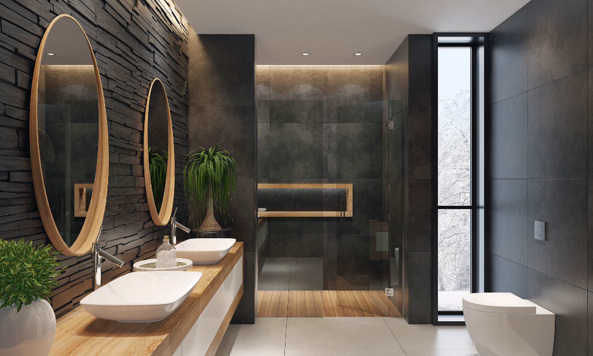 Bathroom with anthracite stone walls