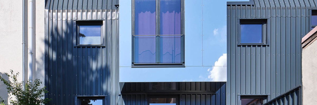 Facade of tin can house in Erfurt, Germany