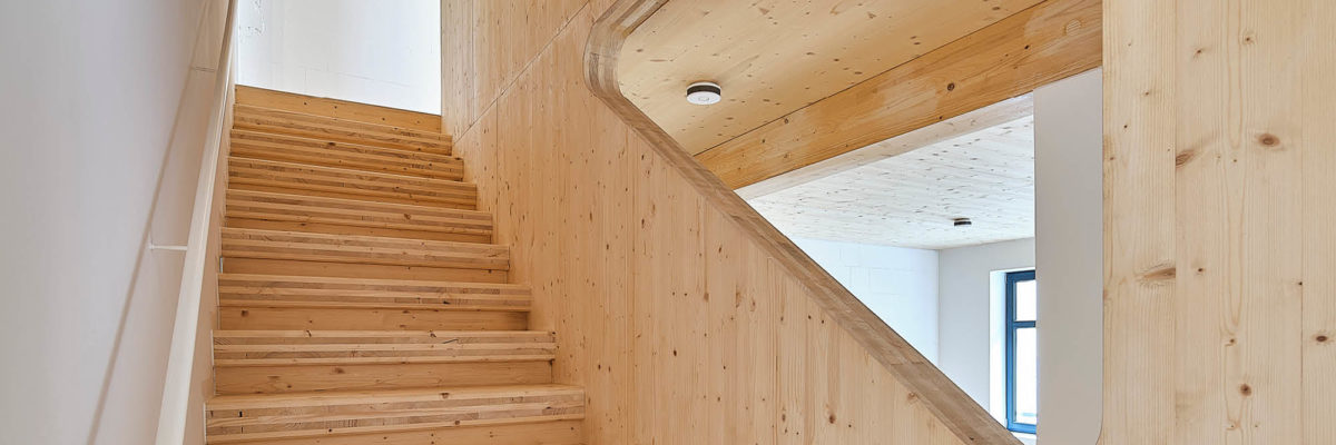 Staircase in tin can house
