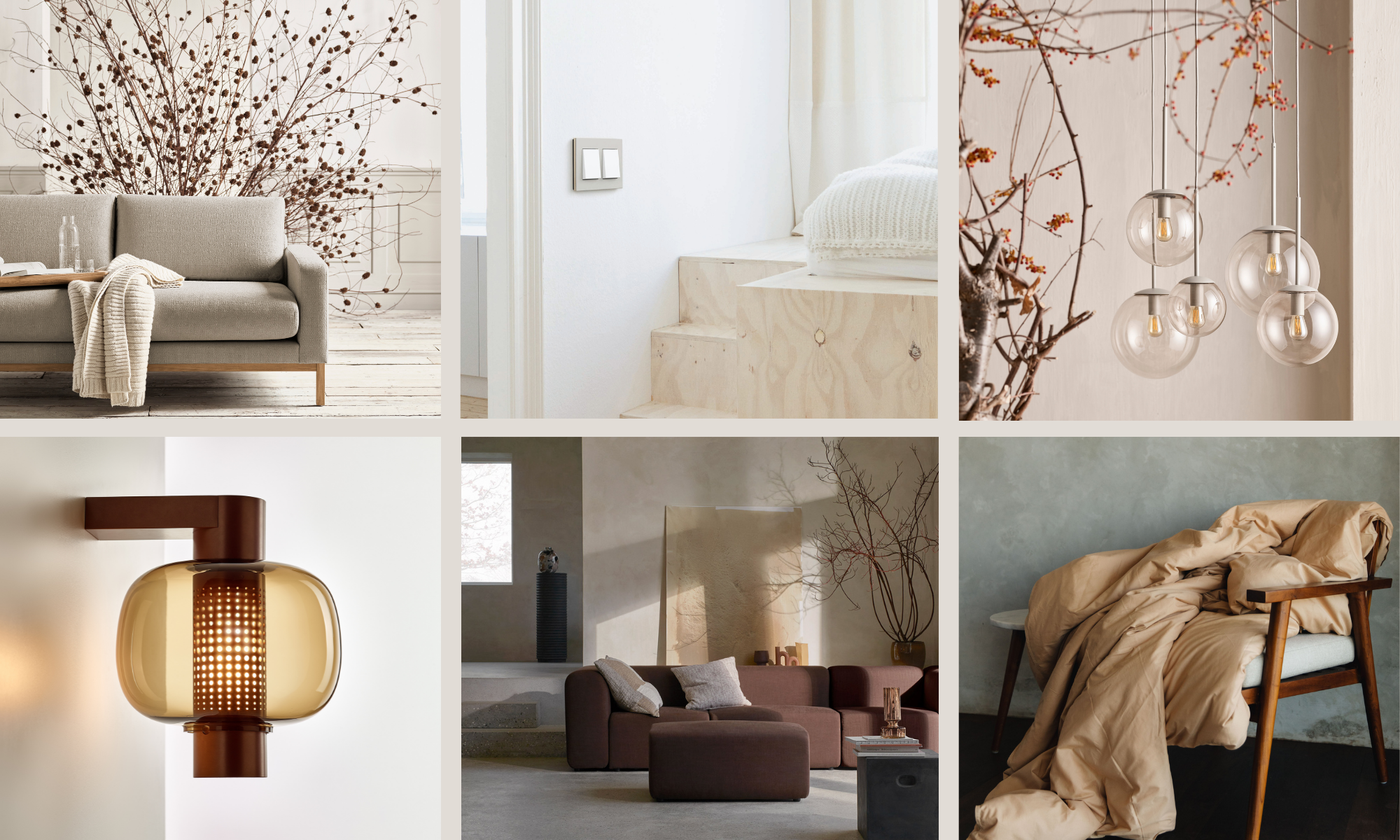 Collage with colour trends for fall 2021