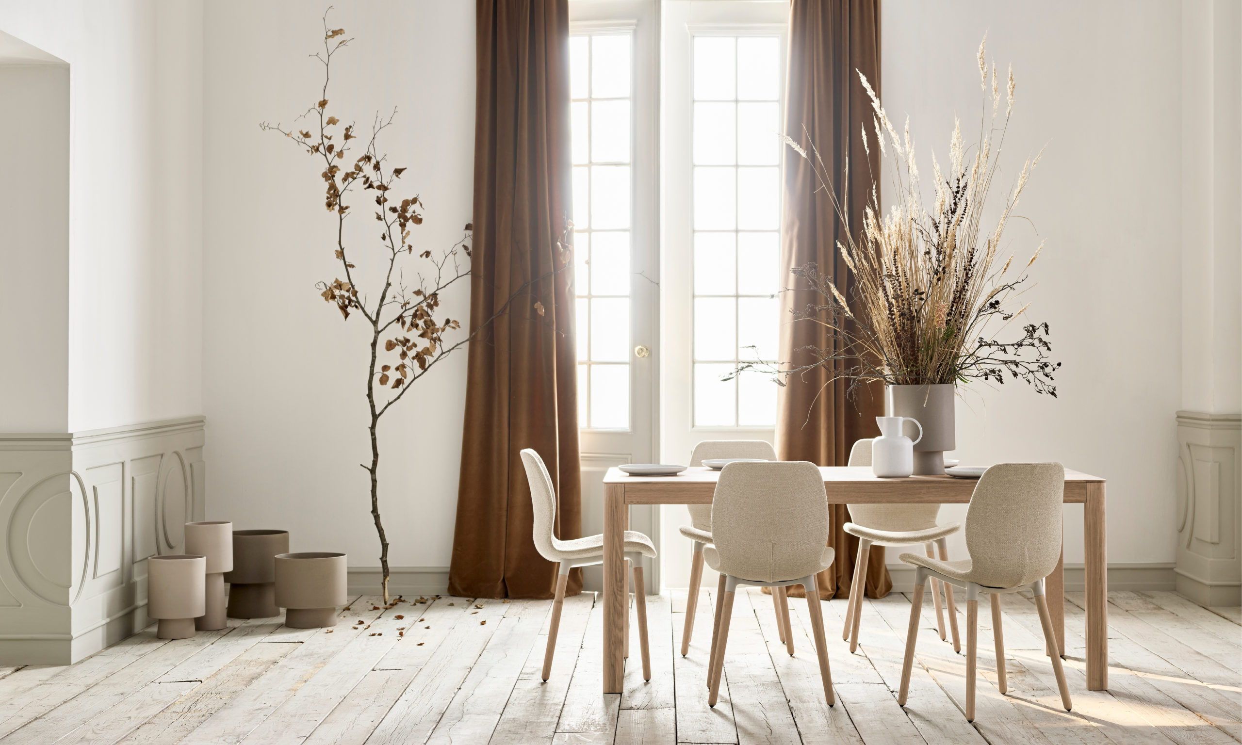 dining room with white furniture